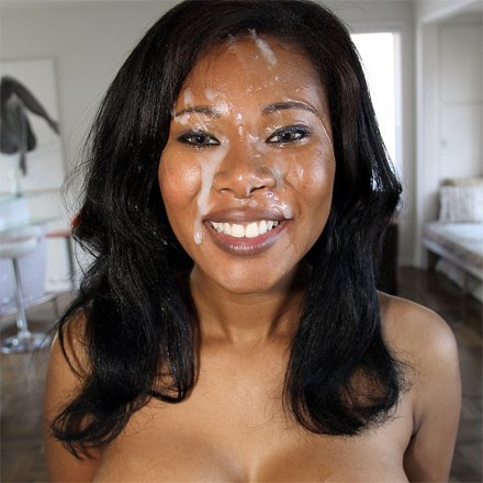 Ebony cumshot facials